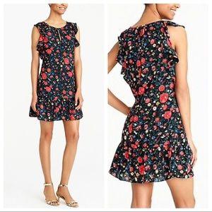 J. Crew Floral Flutter Sleeve Ruffle Dress